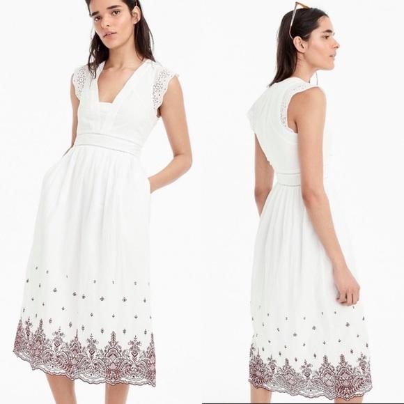 J Crew Point Sur Embroidered Flutter Sleeve dress